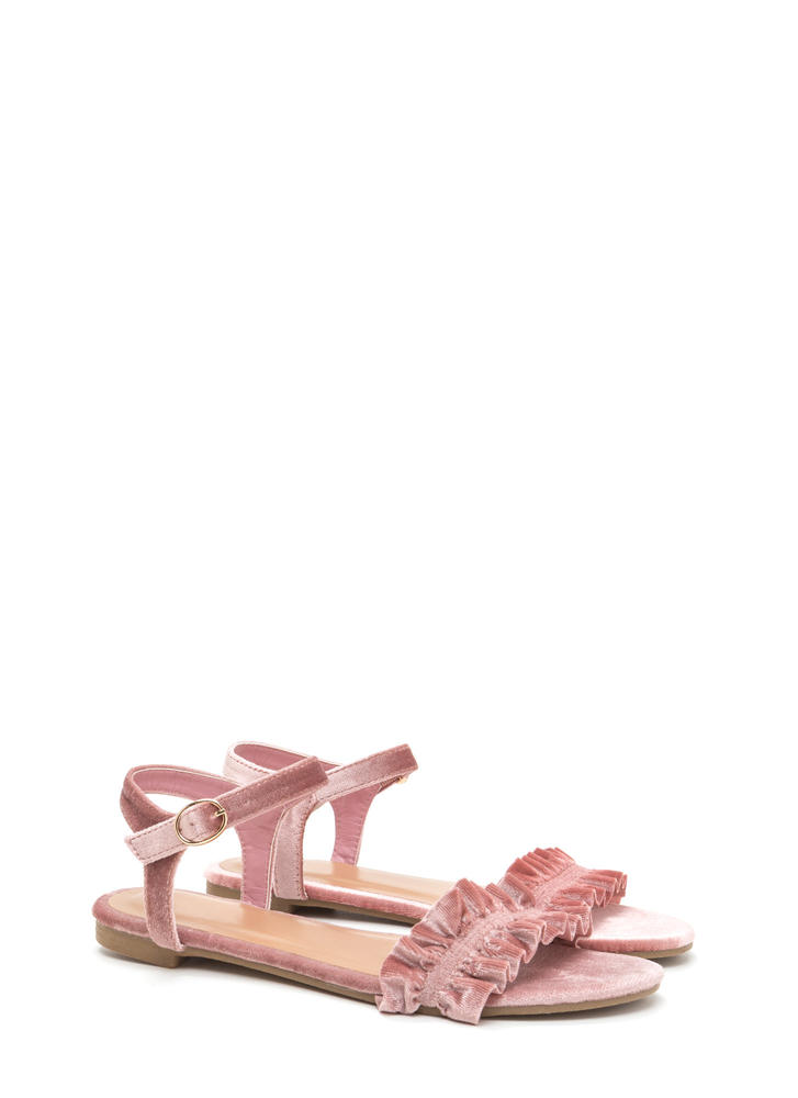 Walking On Air Ruffled Velvet Sandals BLUSH
