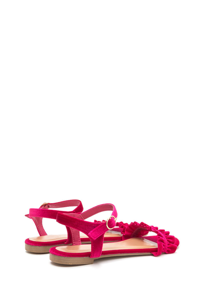 Walking On Air Ruffled Velvet Sandals HOTPINK