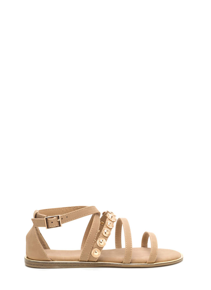Strappy Sunburst Caged Sandals NATURAL