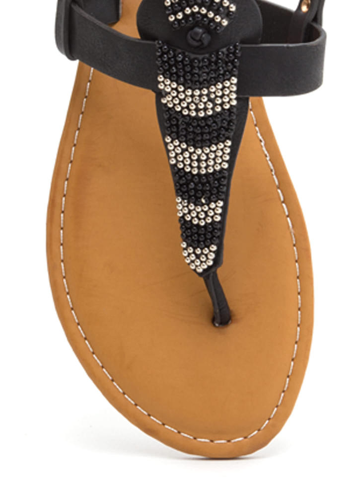 Bead You On T-Strap Faux Leather Sandals BLACK