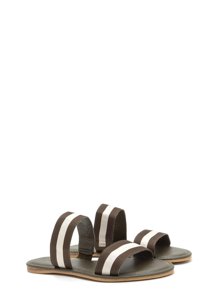 Double Agent Striped Slide Sandals OLIVEWHITE