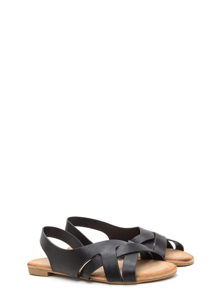Vacay Vibes Woven Faux Leather Sandals BLACK