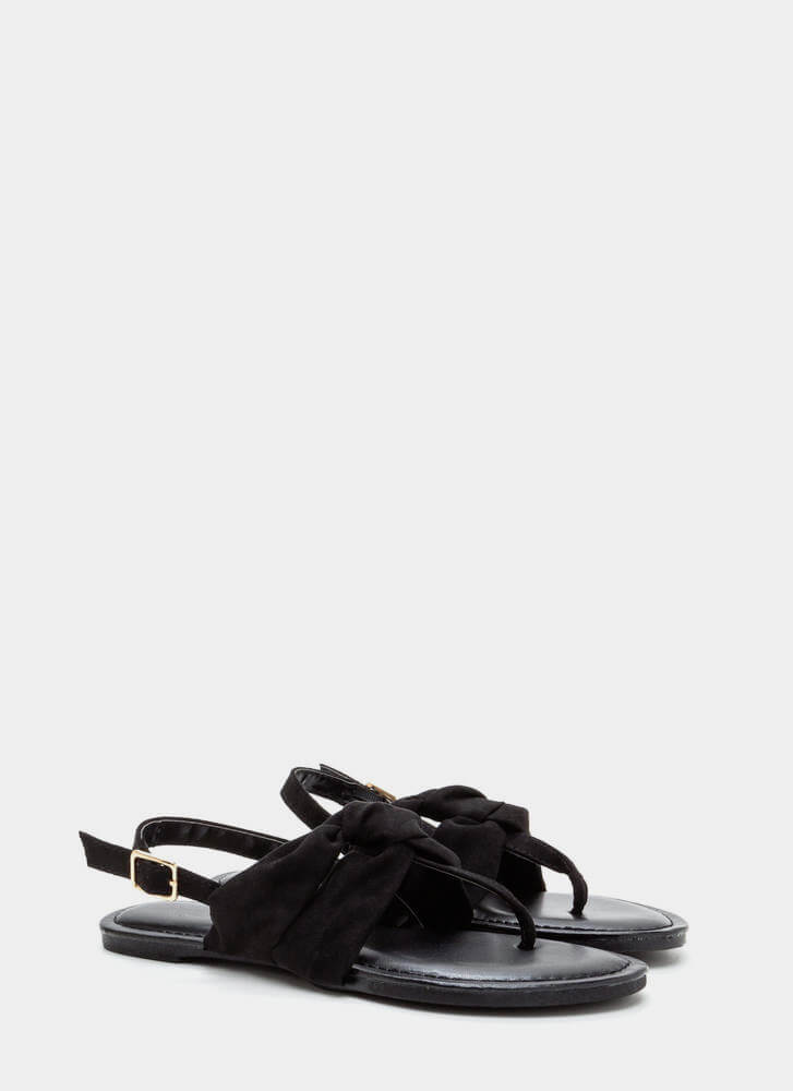 Knotty By Nature Faux Suede Sandals BLACK