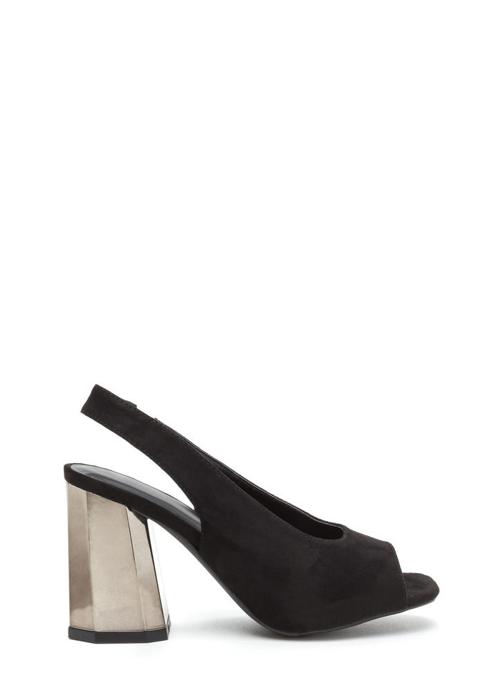 New School Chunky Slingback Heels BLACK ...
