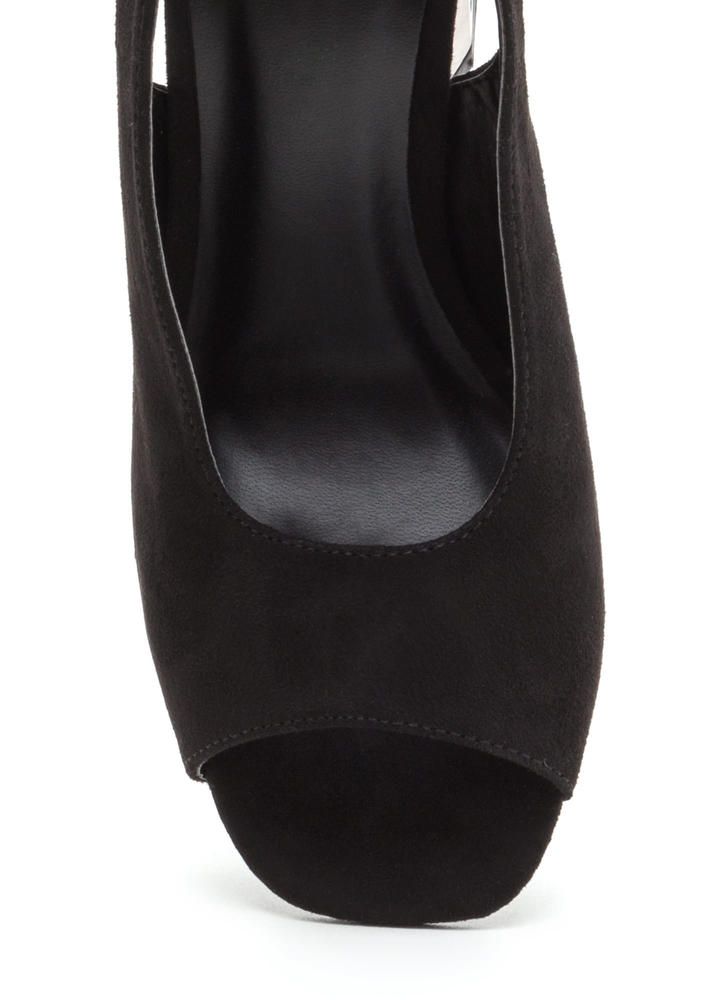 New School Chunky Slingback Heels BLACK (Final Sale)