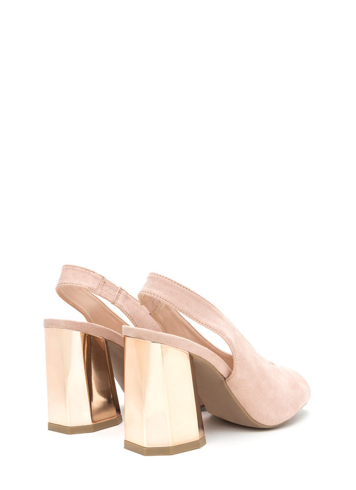 New School Chunky Slingback Heels NUDE (Final Sale)