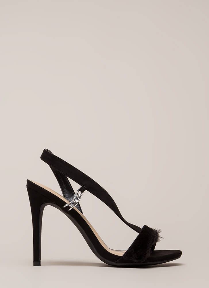 Fur Sure Strappy Faux Suede Heels BLACK