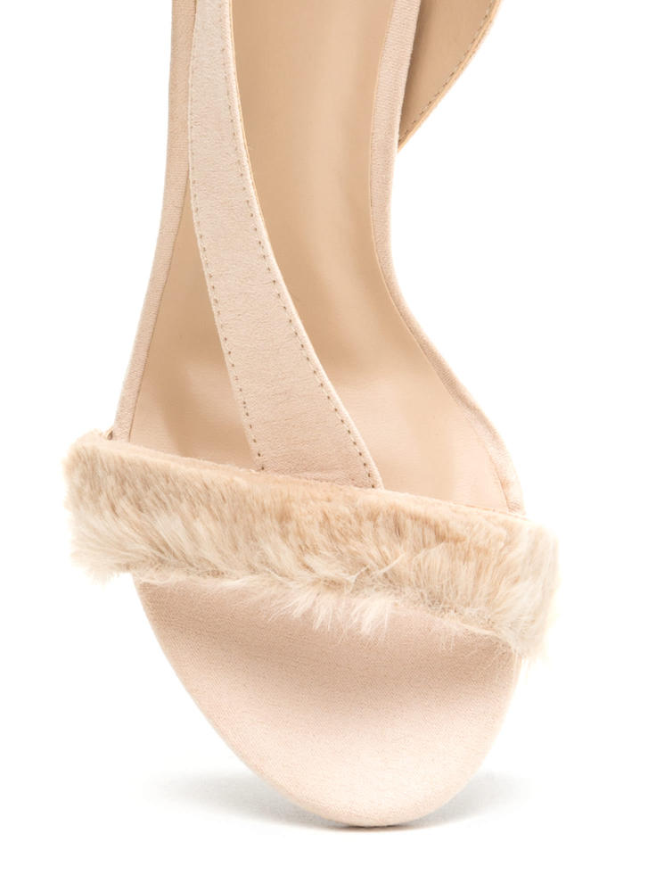 Fur Sure Strappy Faux Suede Heels NUDE