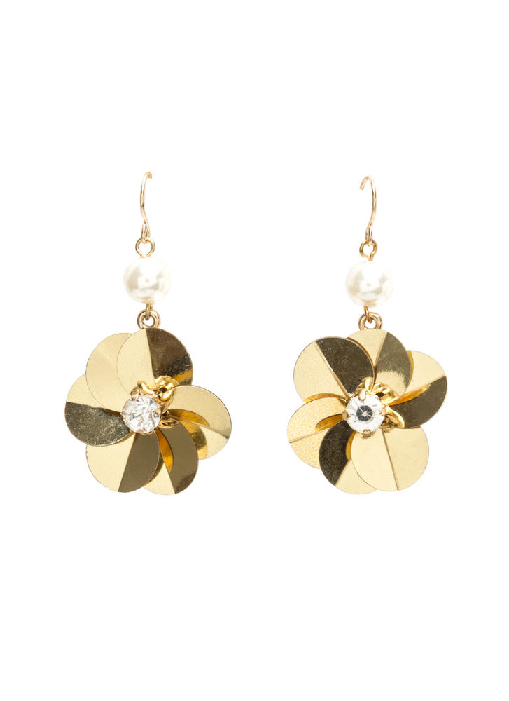 Petal To The Metal Faux Pearl Earrings GOLD
