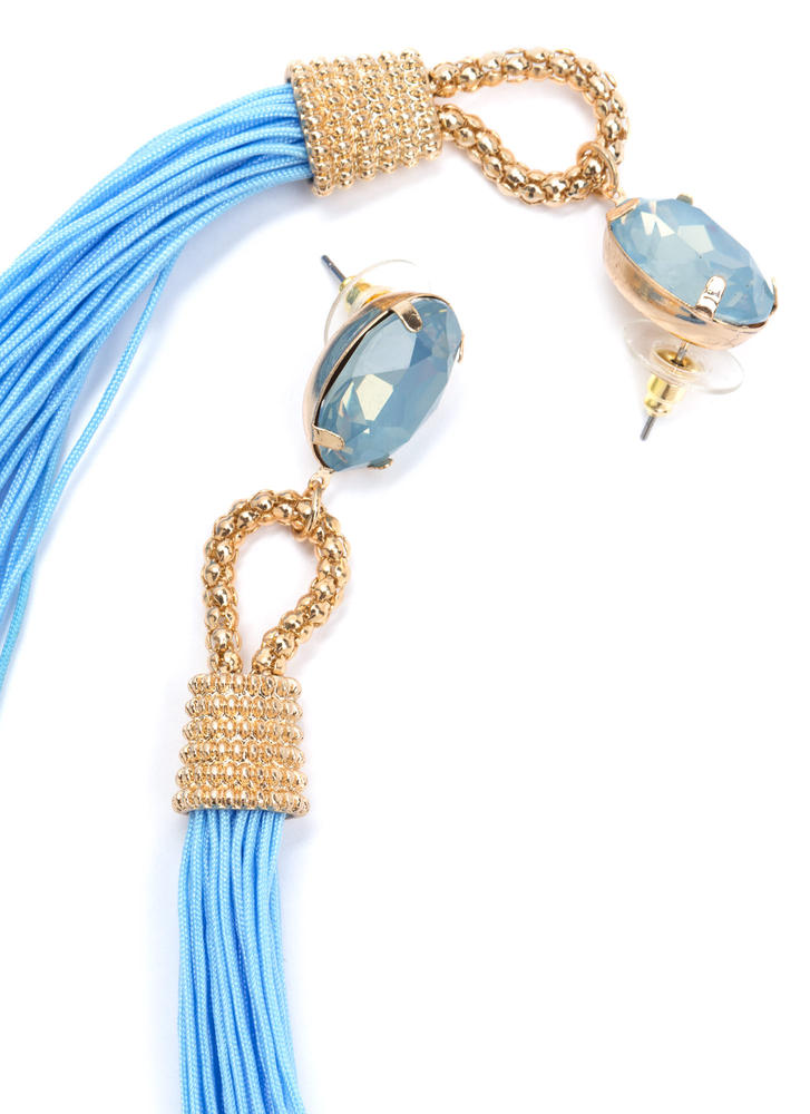 Not A Tassel Faux Jewel Earrings BLUEGOLD
