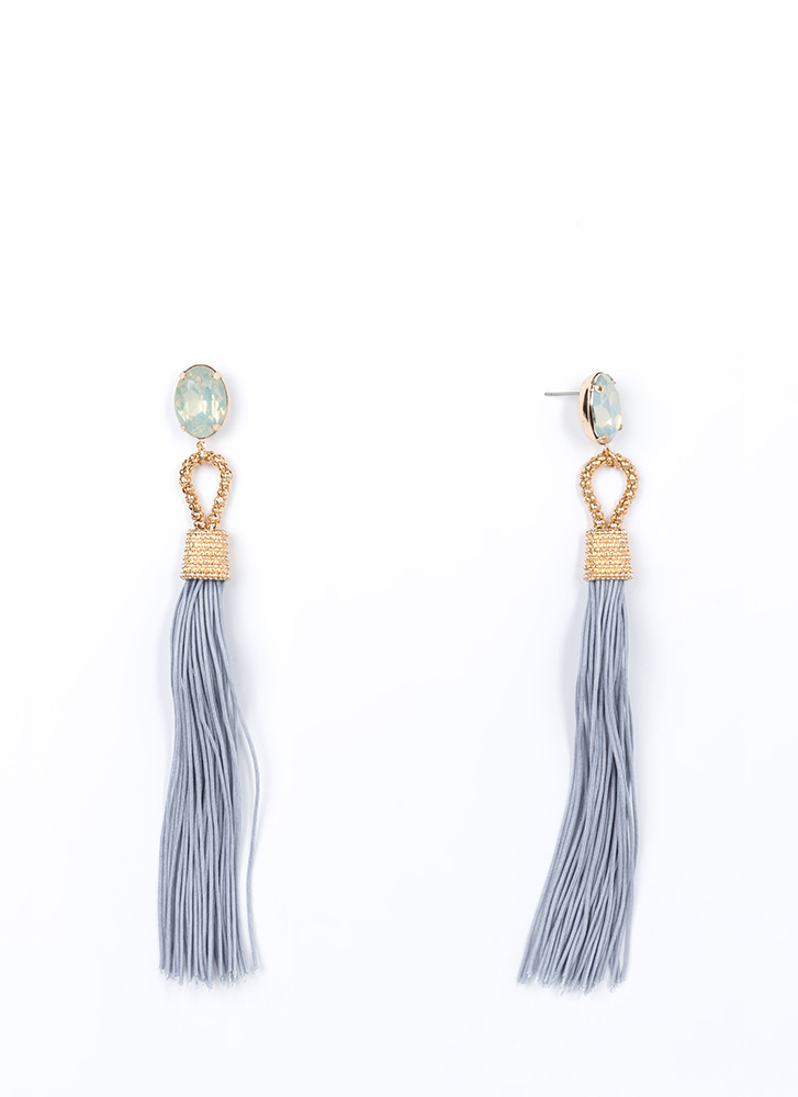 Not A Tassel Faux Jewel Earrings GREYGOLD