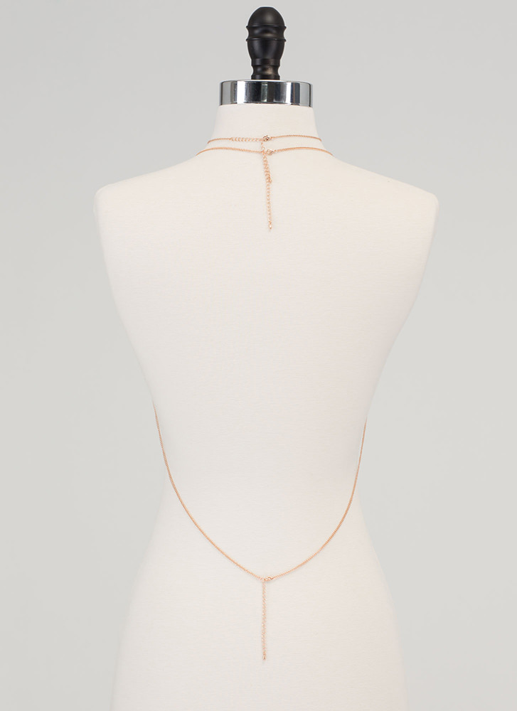 Drape Up Body Chain 'N Necklace Set ROSEGOLD