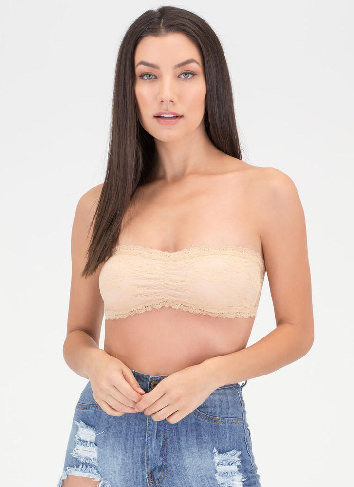 Flower Girl Lace Bandeau Top NUDE