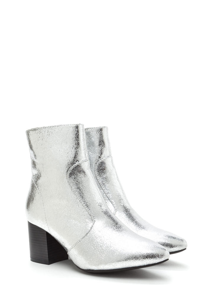 Made Your Point Crackled Chunky Booties SILVER (Final Sale)