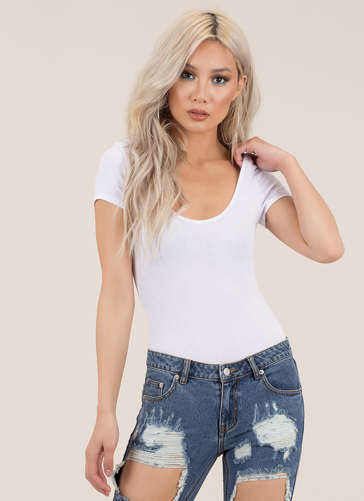 Basic Necessity Scoop Thong Bodysuit WHITE