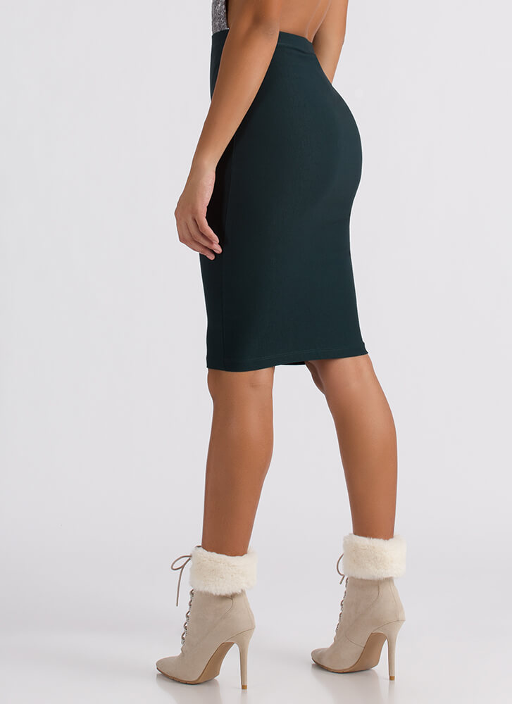 Ahead Of The Curve Pencil Skirt GREEN