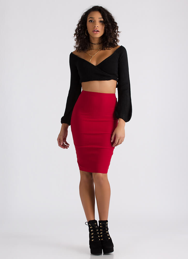 Ahead Of The Curve Pencil Skirt RED