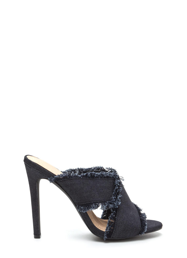 X Marks The Spot Strappy Denim Heels BLACK