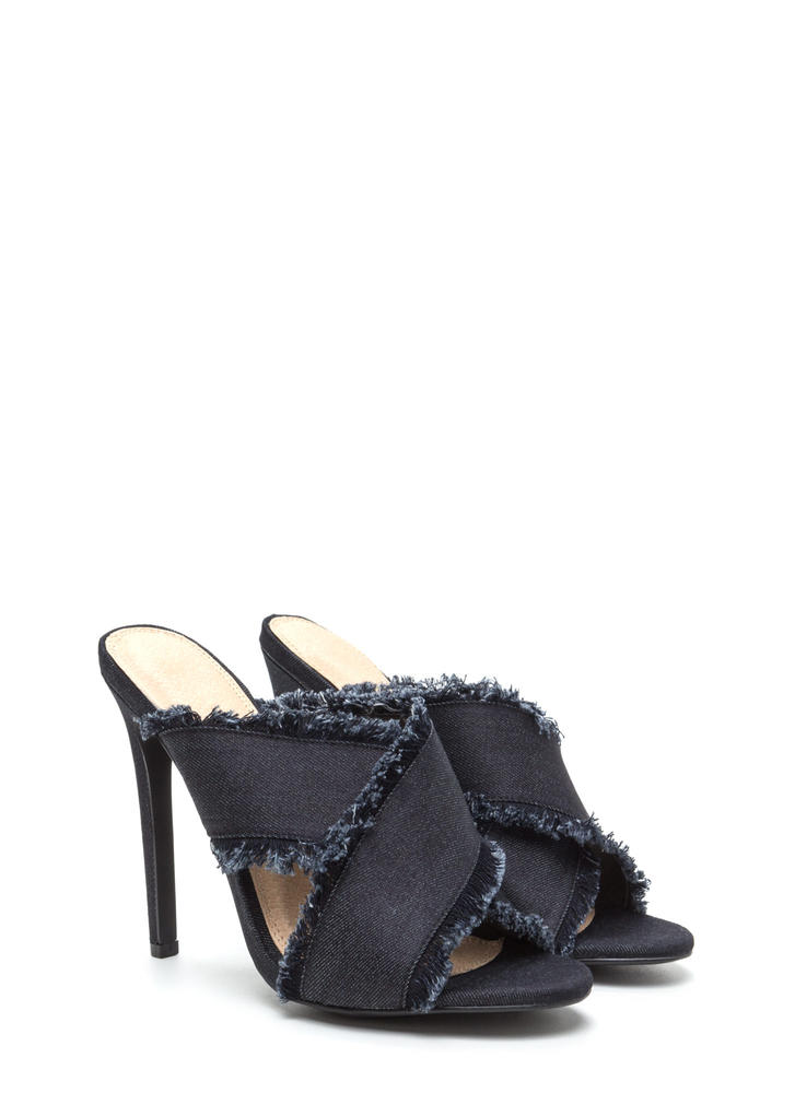 X Marks The Spot Strappy Denim Heels BLACK (Final Sale)