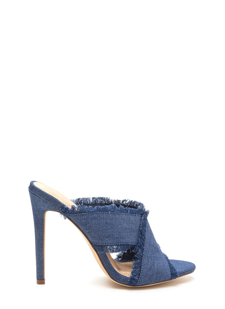 X Marks The Spot Strappy Denim Heels DENIM