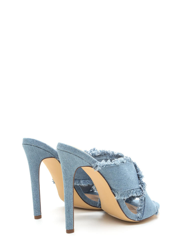 X Marks The Spot Strappy Denim Heels LTDENIM