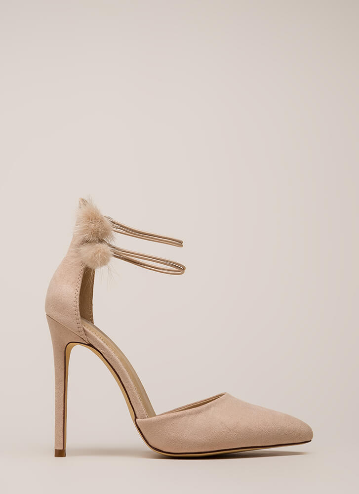 Pom-Dot-Com Pointy Faux Suede Heels NUDE