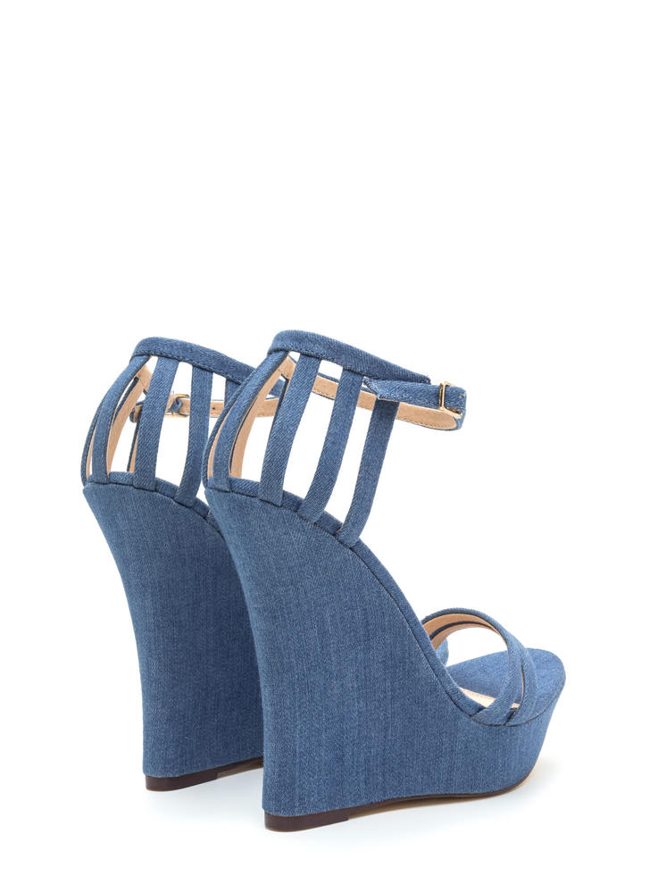 Sky's The Limit Denim Platform Wedges DENIM