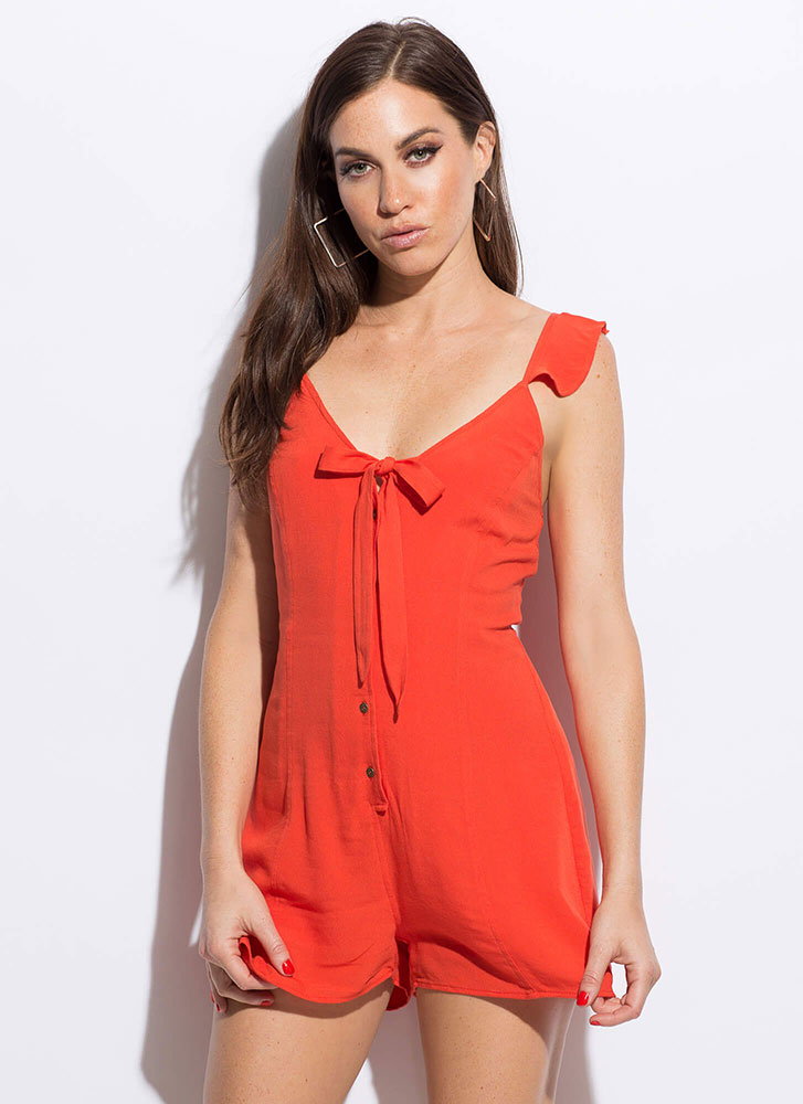 Feeling Flirty Tied Button-Up Romper ORANGE