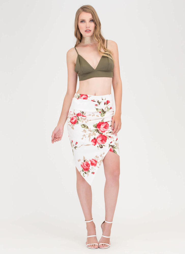 So Sprung Asymmetrical Floral Skirt OFFWHITE