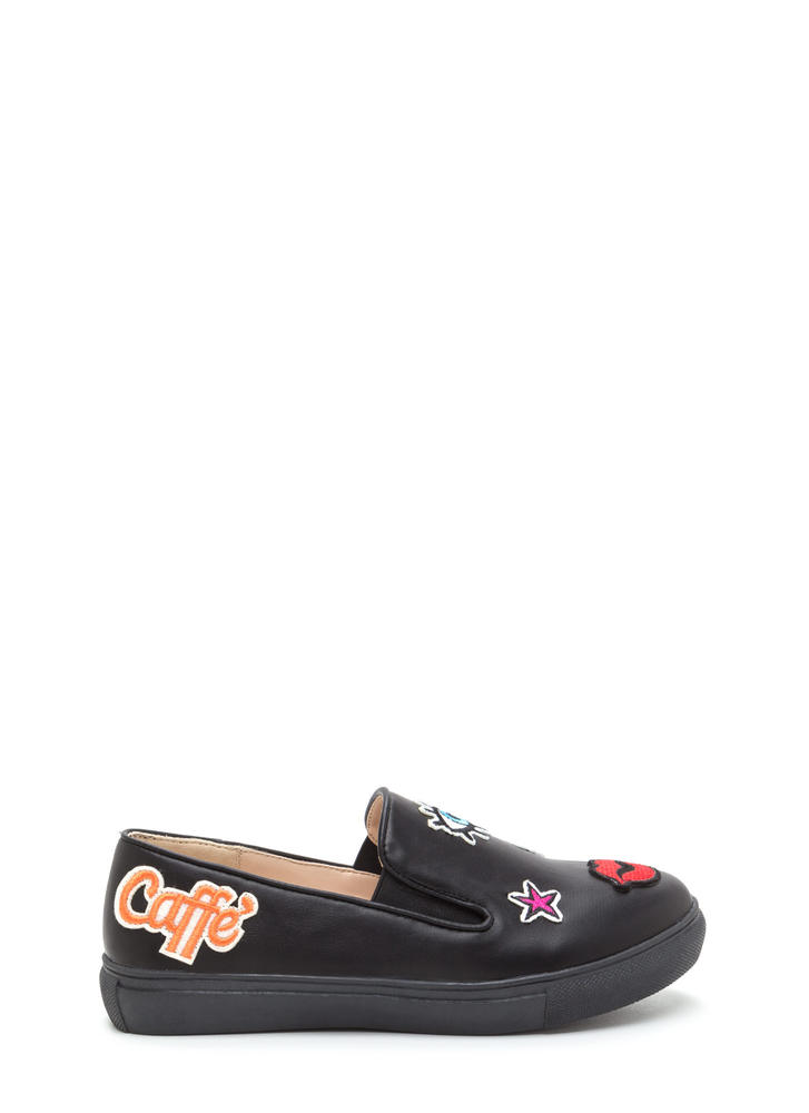 Patched Up Faux Leather Slip-On Sneakers BLACK (Final Sale)
