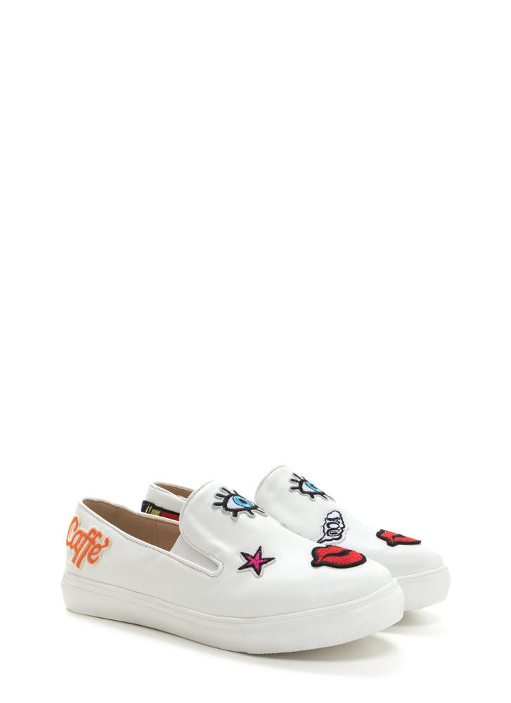 Patched Up Faux Leather Slip-On Sneakers WHITE