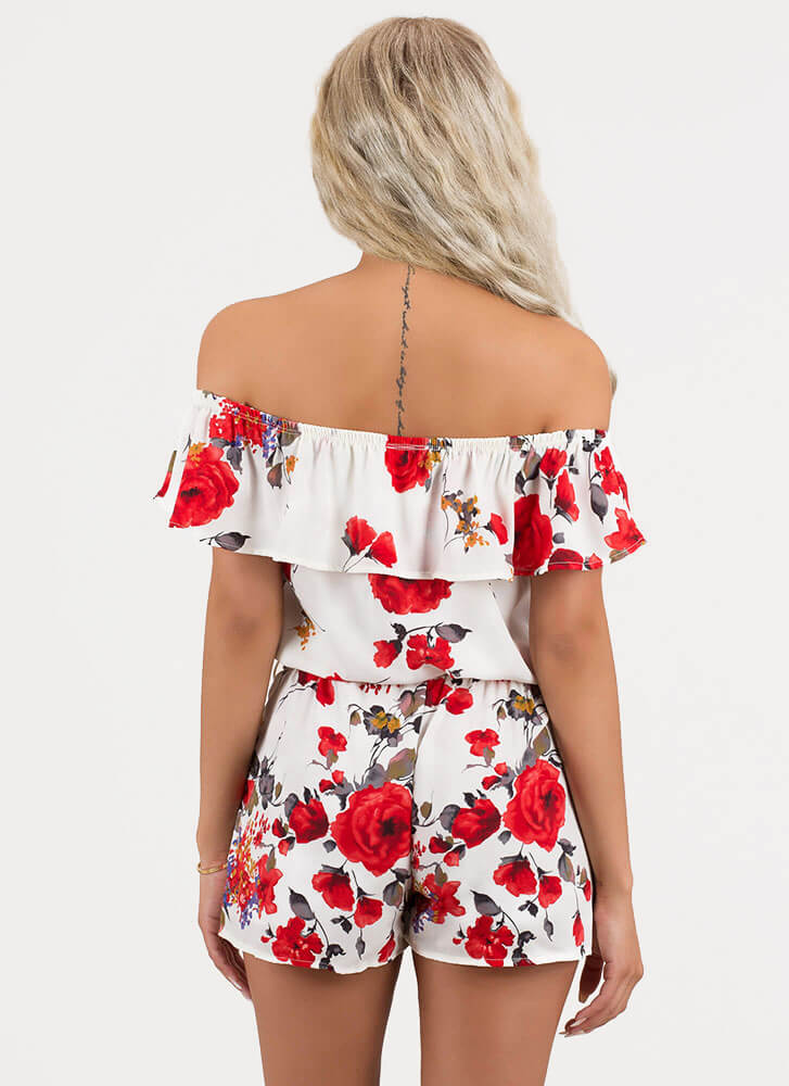 Floral Fragrance Off-Shoulder Romper WHITE