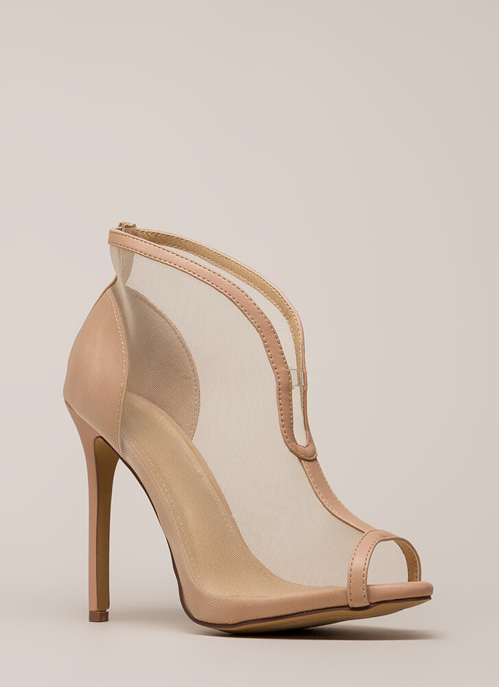 Sleek Sculpture Sheer Faux Leather Heels NUDE BLACK - GoJane.com