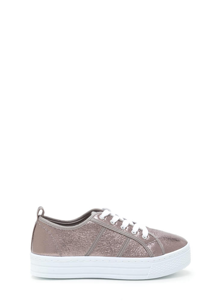 Celeb Stardom Metallic Flatform Sneakers PEWTER (Final Sale)
