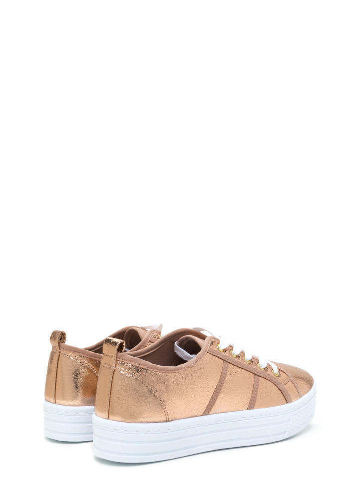 Celeb Stardom Metallic Flatform Sneakers ROSEGOLD (Final Sale)