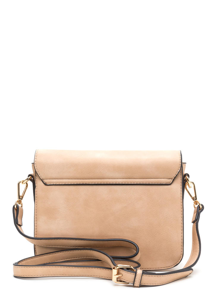 Chic To Me Faux Leather Crossbody Bag BEIGE (Final Sale)