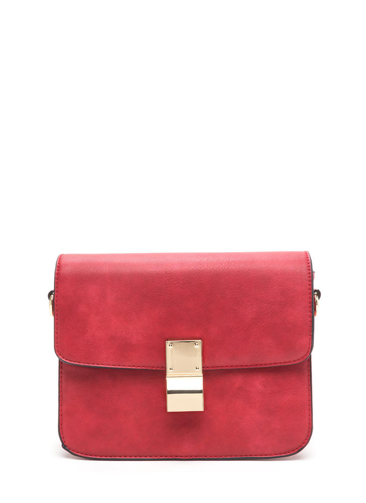 Chic To Me Faux Leather Crossbody Bag RED (Final Sale)