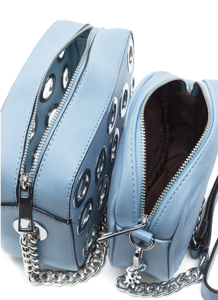 Hole Lot Of Fun Faux Leather Bag BLUE