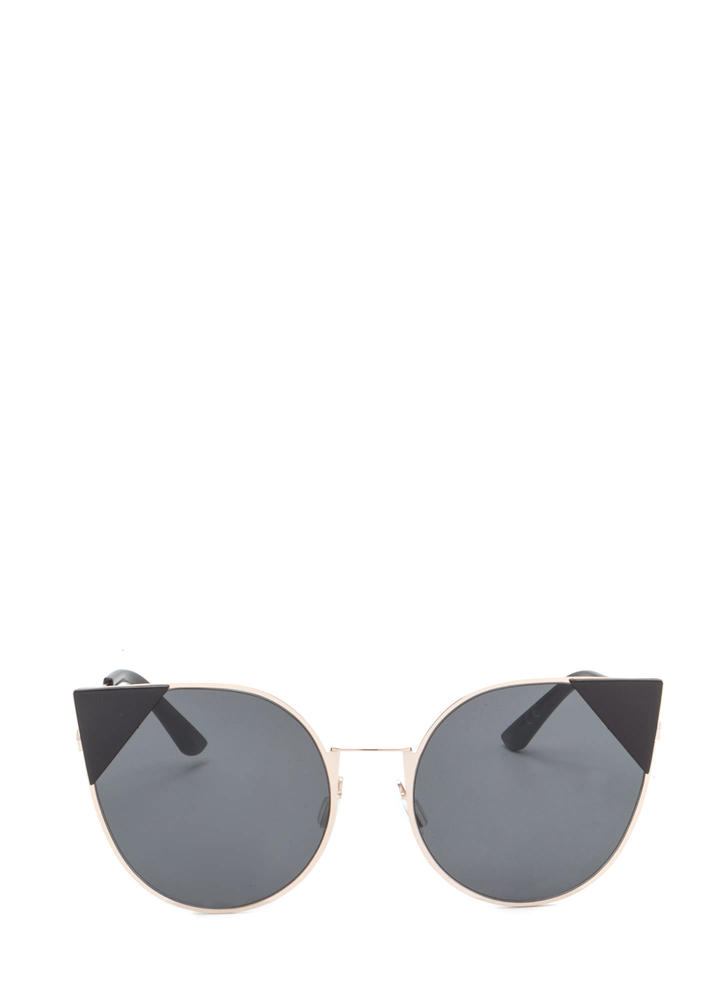 Feline Cute Tipped Rounded Sunglasses BLACK