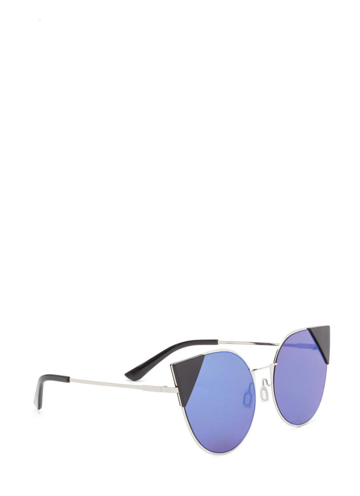 Feline Cute Tipped Rounded Sunglasses BLUE