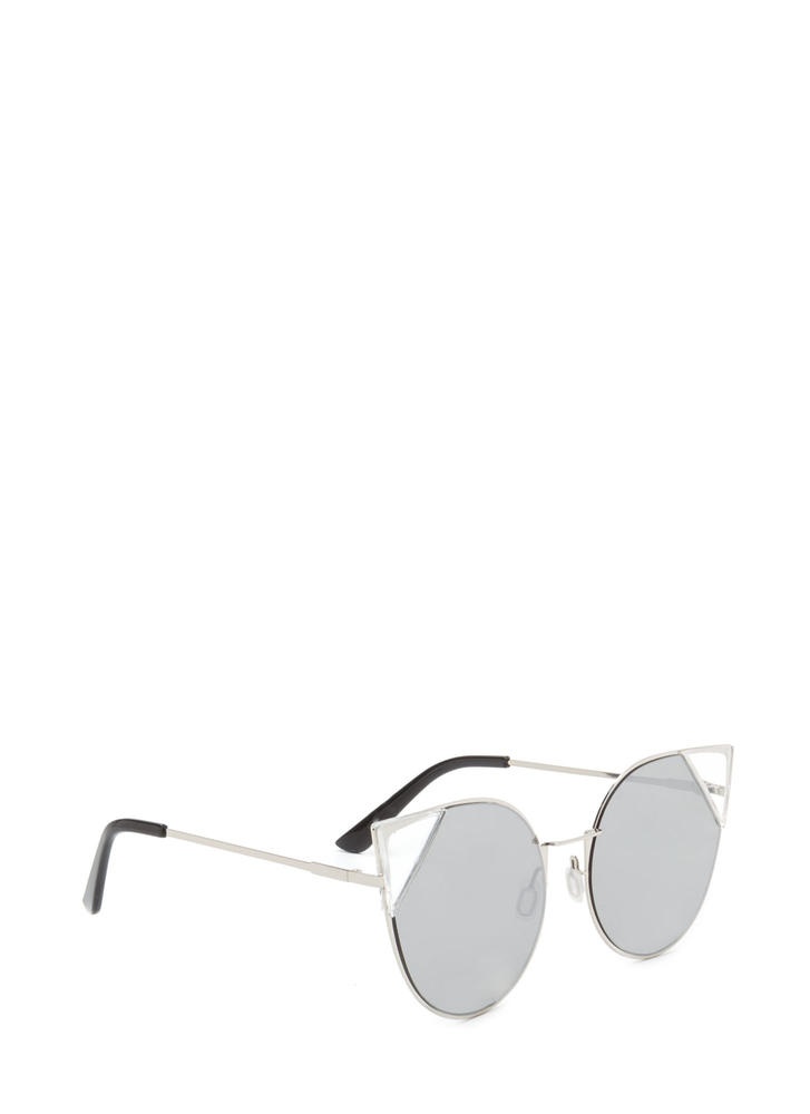 Feline Cute Tipped Rounded Sunglasses SILVER