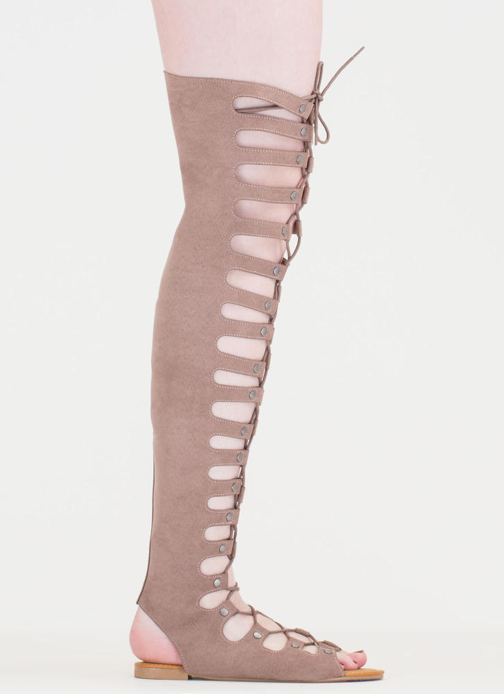 Lace-Up 'N Go Caged Gladiator Sandals LTTAUPE