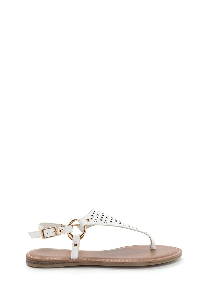 Shape Changer Perforated T-Strap Sandals WHITE