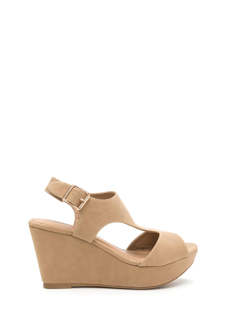 Triangulate Me Faux Nubuck Wedges NATURAL