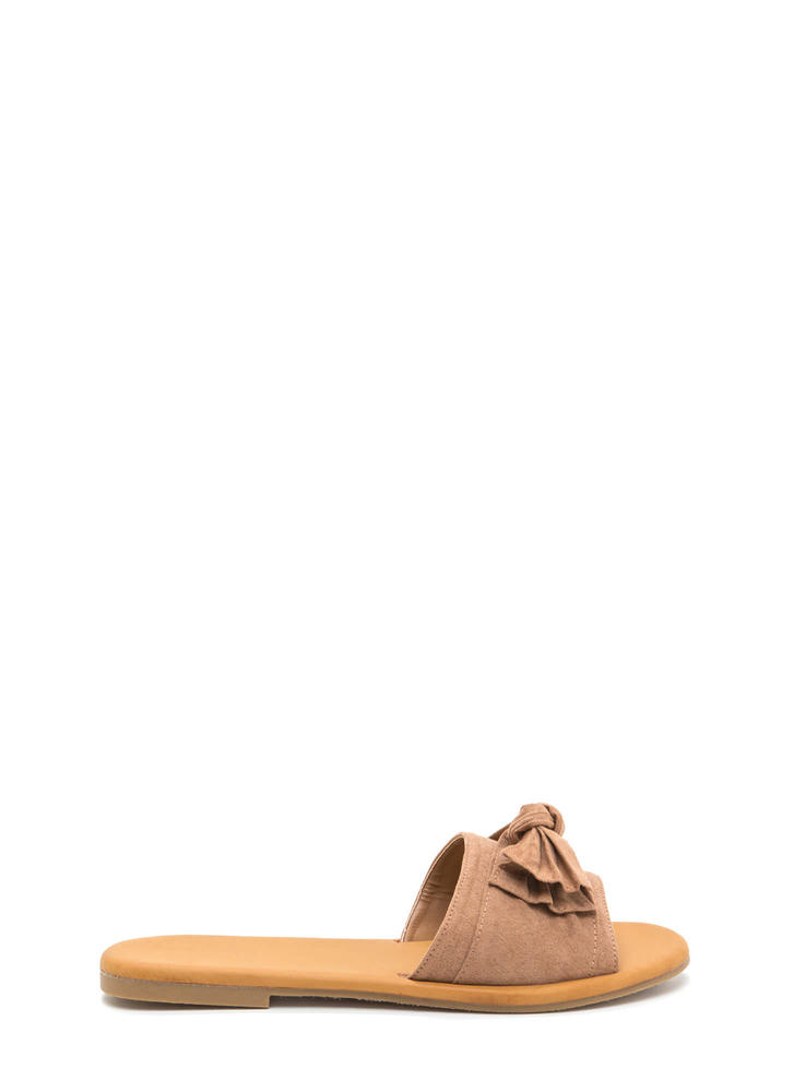 Can You Knot Faux Suede Bow Sandals CAMEL