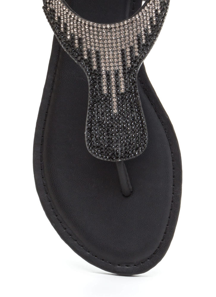 Dazzling Pick Jeweled T-Strap Sandals BLACK