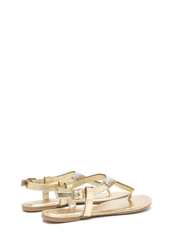 Dazzling Pick Metallic T-Strap Sandals GOLD
