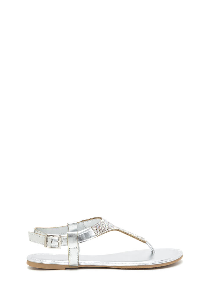 Dazzling Pick Metallic T-Strap Sandals SILVER