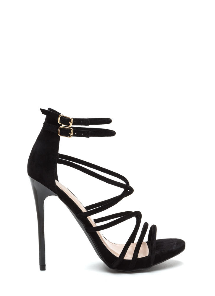 Own The Night Faux Suede Caged Heels BLACK