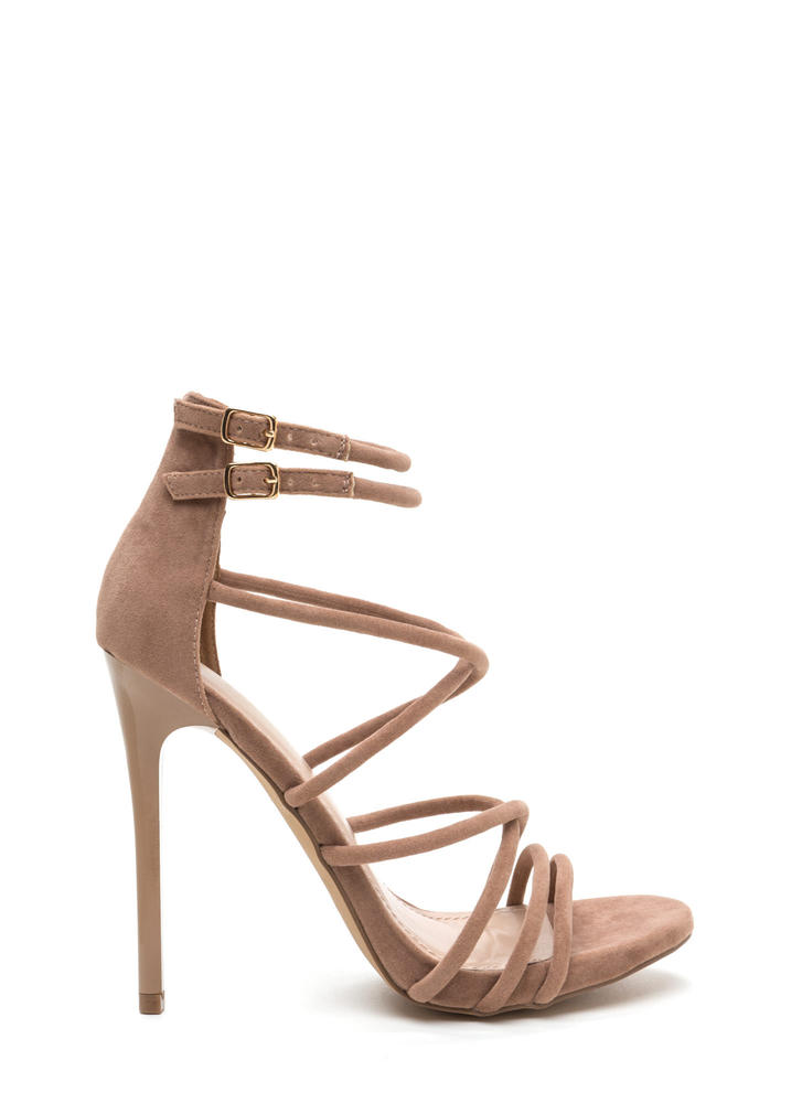 Own The Night Faux Suede Caged Heels TAUPE